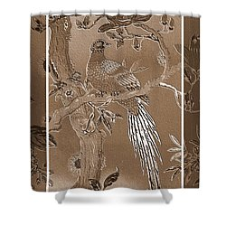 Victorian Pheasant In Sepia Shower Curtain by Carol Groenen