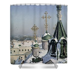 View From A Window Of The Moscow School Of Painting Shower Curtain by Sergei Ivanovich Svetoslavsky