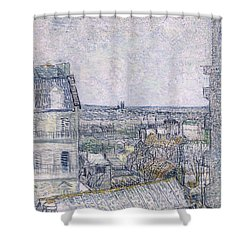 View From Vincent's Room In The Rue Lepic Shower Curtain by Vincent van Gogh