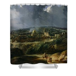 View Of Jerusalem From The Valley Of Jehoshaphat Shower Curtain by Auguste Forbin