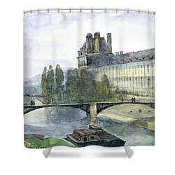 View Of The Pavillon De Flore Of The Louvre Shower Curtain by Francois-Marius Granet