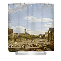 View Of The Roman Forum Shower Curtain by Giovanni Paolo Panini