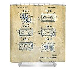 Vintage 1961 Lego Brick Patent Art Shower Curtain by Nikki Marie Smith