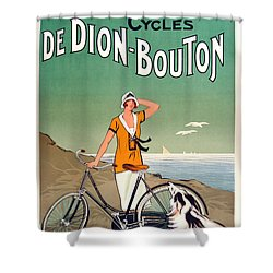 Vintage Bicycle Advertising Shower Curtain by Mindy Sommers