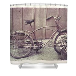 Vintage Bicycle Shower Curtain by Jane Linders