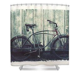 Vintage Bike Polaroid Transfer Shower Curtain by Jane Linders