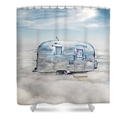 Vintage Camping Trailer In The Clouds Shower Curtain by Jill Battaglia