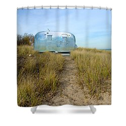 Vintage Camping Trailer Near The Sea Shower Curtain by Jill Battaglia