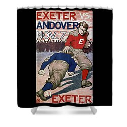 Vintage College Football Exeter Andover Shower Curtain by Edward Fielding