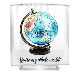 Vintage Globe Love You're My Whole World Shower Curtain by Laura Row