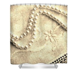 Vintage Lace And Pearls Shower Curtain by Barbara Griffin