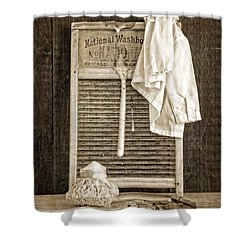 Vintage Laundry Room Shower Curtain by Edward Fielding