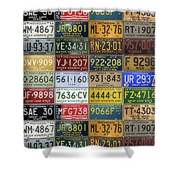 Vintage License Plates From Michigan's Rich Automotive Past Shower Curtain by Design Turnpike