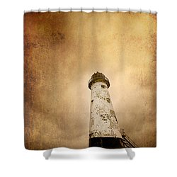Vintage Lighthouse Shower Curtain by Meirion Matthias