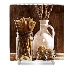 Vintage Pasta  Shower Curtain by Amanda Elwell