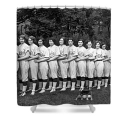 Vintage Photo Of Women's Baseball Team Shower Curtain by American School