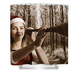 Vintage Santa Elf Searching For Christmas Fun Shower Curtain by Jorgo Photography - Wall Art Gallery