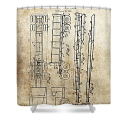 Vintage Semi Trailer Truck Patent Shower Curtain by Dan Sproul