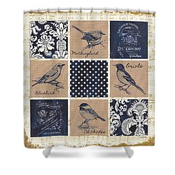Vintage Songbird Patch 2 Shower Curtain by Debbie DeWitt