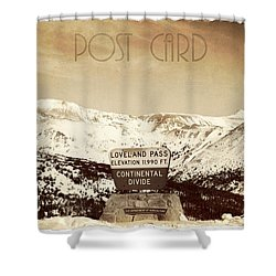 Vintage Style Post Card From Loveland Pass Shower Curtain by Juli Scalzi