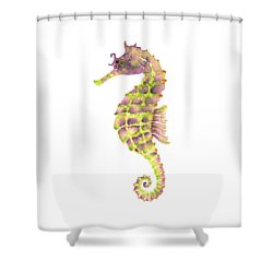 Violet Green Seahorse Shower Curtain by Amy Kirkpatrick