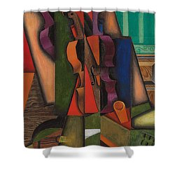 Violin And Guitar Shower Curtain by Juan Gris