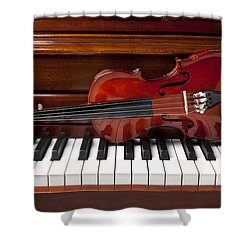Violin On Piano Shower Curtain by Garry Gay