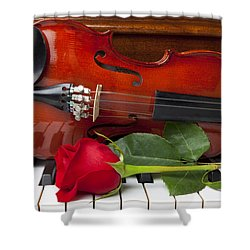 Violin With Rose On Piano Shower Curtain by Garry Gay