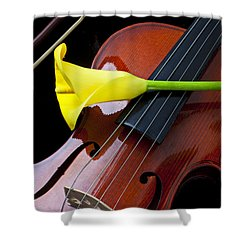 Violin With Yellow Calla Lily Shower Curtain by Garry Gay