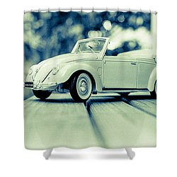 Vw Beetle Convertible Shower Curtain by Jon Woodhams
