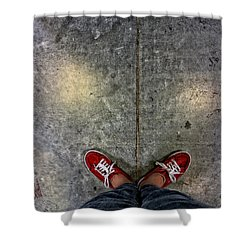 Waiting For Clown School Shower Curtain by Donna Blackhall