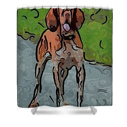Waiting Patiently Over Here Shower Curtain by Omaste Witkowski