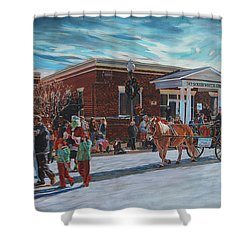 Wake Forest Christmas Parade Shower Curtain by Tommy Midyette