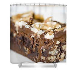 Walnut Brownie On A White Plate Shower Curtain by Ulrich Schade