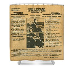 Wanted Poster - Bonnie And Clyde 1934 Shower Curtain by F B I