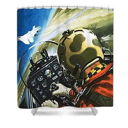 War In The Air Shower Curtain by Wilf Hardy