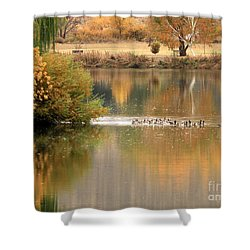 Warm Autumn River Shower Curtain by Carol Groenen