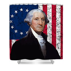 Washington And The American Flag Shower Curtain by War Is Hell Store