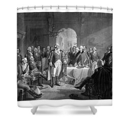 Washington Meeting His Generals Shower Curtain by War Is Hell Store