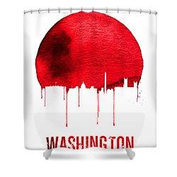 Washington Skyline Red Shower Curtain by Naxart Studio