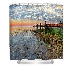 Watching The Sun Rise Shower Curtain by Debra and Dave Vanderlaan