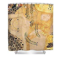 Water Serpents I Shower Curtain by Gustav klimt