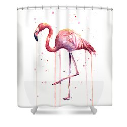 Watercolor Flamingo Shower Curtain by Olga Shvartsur