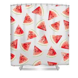 Watercolor Watermelon Pattern Shower Curtain by Uma Gokhale