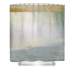 Waterfall And Rainbow At Niagara Falls Shower Curtain by Albert Bierstadt
