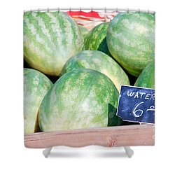 Watermelons With A Price Sign Shower Curtain by Paul Velgos