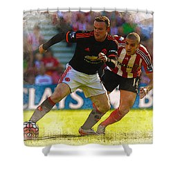 Wayne Rooney Is Marshalled Shower Curtain by Don Kuing