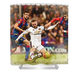 Wayne Rooney Shoots At Goal Shower Curtain by Don Kuing