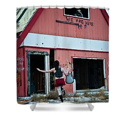 We Are Here Shower Curtain by Scott Sawyer