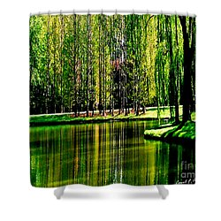 Weeping Willow Tree Reflective Moments Shower Curtain by Carol F Austin
